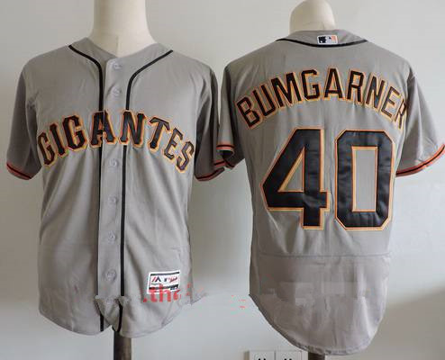 Men's San Francisco Giants #40 Madison Bumgarner Gray Gigantes Stitched MLB Majestic Flex Base Jersey