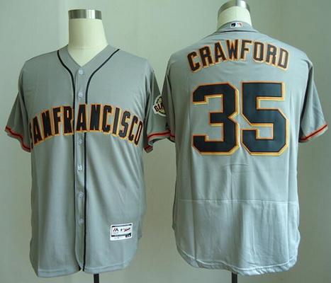 Men's San Francisco Giants #35 Brandon Crawford Gray Road Stitched MLB Majestic Flex Base Jersey