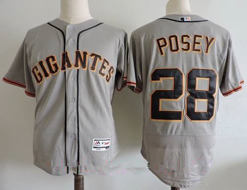 Men's San Francisco Giants #28 Buster Posey Gray Gigantes Stitched MLB Majestic Flex Base Jersey