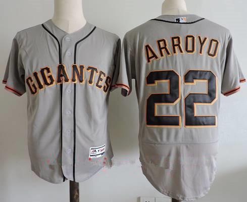 Men's San Francisco Giants #22 Christian Arroyo Gray Gigantes Stitched MLB Majestic Flex Base Jersey