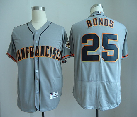 Men's San Francisco Giants #25 Barry Bonds Retired Gray Road Stitched MLB Majestic Flex Base Jersey