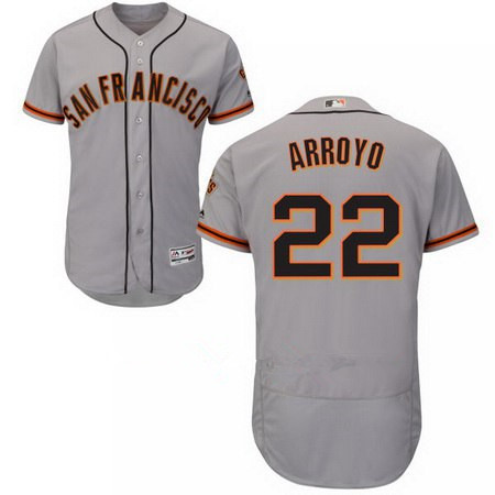Men's San Francisco Giants #22 Christian Arroyo Majestic Road Gray Flex Base Authentic Collection Custom Jersey