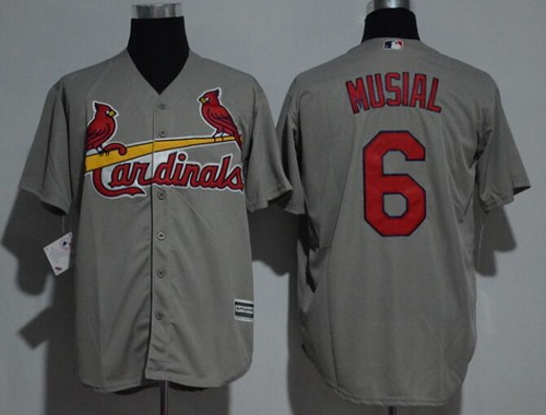 Men's St. Louis Cardinals #6 Stan Musial Retired Gray Road Stitched MLB Majestic Cool Base Jersey