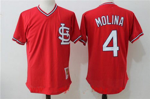 Men's St. Louis Cardinals #4 Yadier Molina Red Throwback Mesh Batting Practice Stitched MLB Mitchell & Ness Jersey