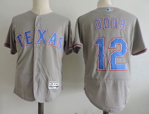 Men's Texas Rangers #12 Rougned Odor Gray Road Stitched MLB Majestic Flex Base Jersey