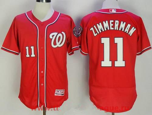 Men's Washington Nationals #11 Ryan Zimmerman Red Stitched MLB Majestic Flex Base Jersey
