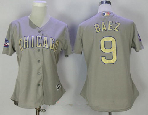 free shipping 5419e 0722e Women's Chicago Cubs #9 Javier Baez Gray CUBS Stitched MLB ...