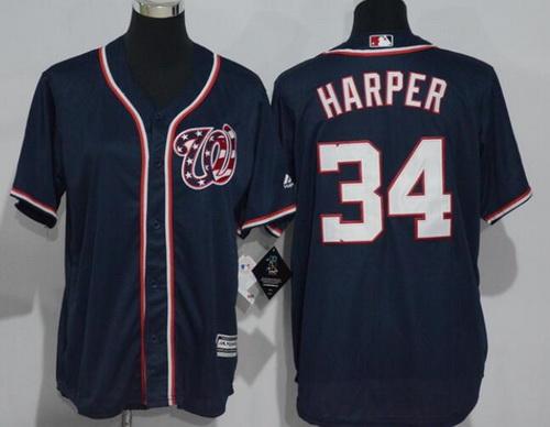 Youth Washington Nationals #34 Bryce Harper Navy Blue Stitched MLB Majestic Cool Base Jersey
