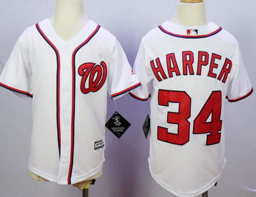 Youth Washington Nationals #34 Bryce Harper White Home Stitched MLB Majestic Cool Base Jersey