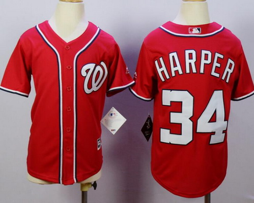 Youth Washington Nationals #34 Bryce Harper Red Stitched MLB Majestic Cool Base Jersey