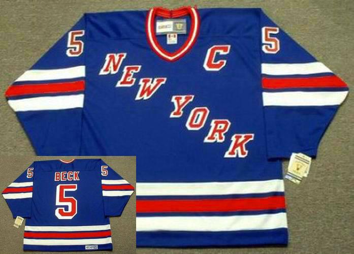 Men's York Rangers #5 BARRY BECK 1983 CCM Vintage Away NHL Hockey Jersey