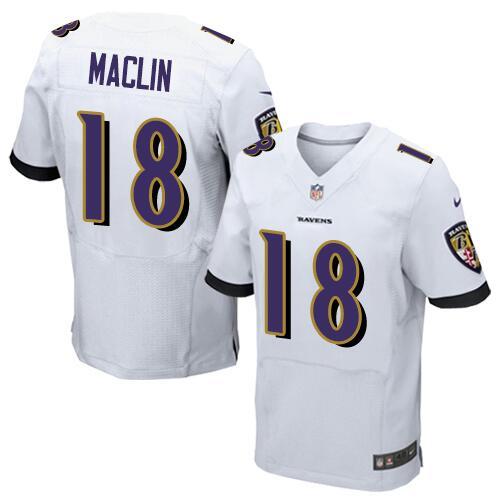 Nike Baltimore Ravens #18 Jeremy Maclin White Men\u0027s Stitched NFL Elite  Jersey