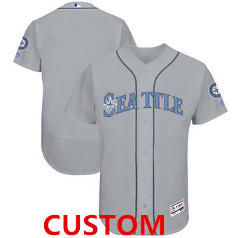 Custom Men's Seattle Mariners Majestic Gray Father's Day FlexBase Team Jersey