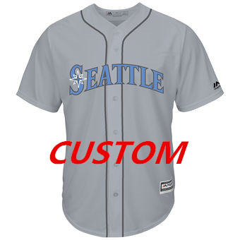 Custom Men's Seattle Mariners Majestic Gray Father's Day Cool Base Replica Team Jersey
