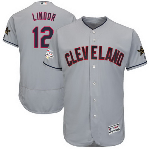 Men's Cleveland Indians #12 Francisco Lindor Majestic Gray 2017 MLB All-Star Game Worn Stitched MLB Flex Base Jersey