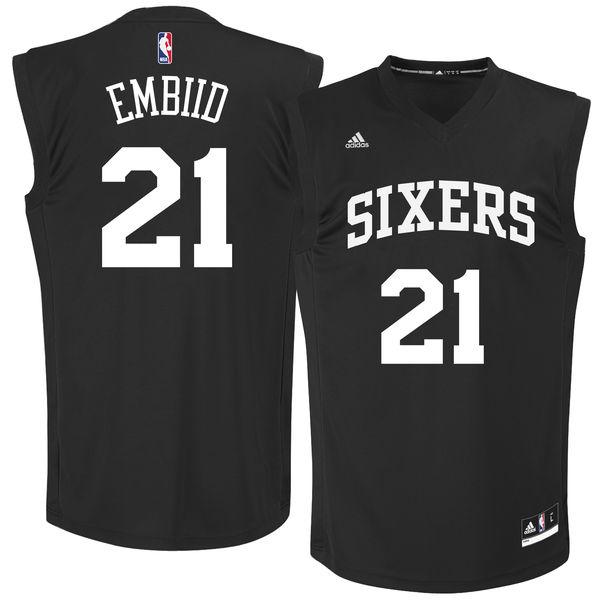 Philadelphia 76ers #21 Joel Embiid Black Chase Fashion Replica Jersey