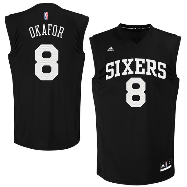 Philadelphia 76ers #8 Jahlil Okafor Black Fashion Replica Jersey