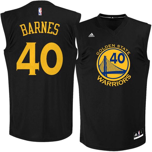 Golden State Warriors 40 Harrison Barnes Black Fashion Replica Jersey