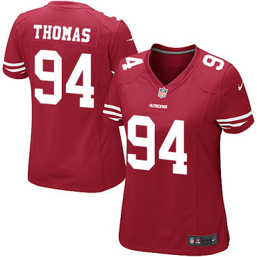 Nike 49ers #94 Solomon Thomas Red Team Color Women's Stitched NFL Elite Jersey