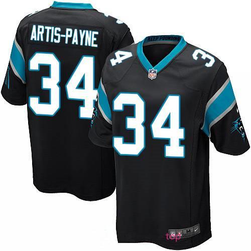 Men's Carolina Panthers #34 Cameron Artis-Payne Black Team Color Stitched NFL Nike Game Jersey