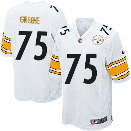 Men's Pittsburgh Steelers #75 Joe Greene White Road Stitched NFL Nike Game Jersey