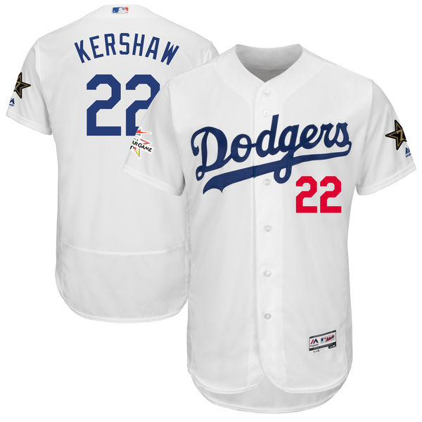 Men's Los Angeles Dodgers #22 Clayton Kershaw Majestic White 2017 MLB All-Star Game Worn Stitched MLB Flex Base Jersey