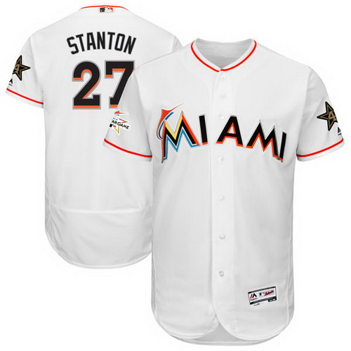 Men's Miami Marlins #27 Giancarlo Stanton Majestic White 2017 MLB All-Star Game Worn Stitched MLB Flex Base Jersey
