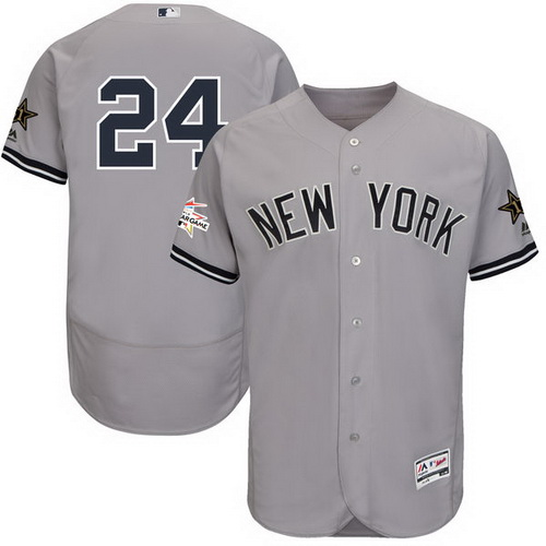 Men's New York Yankees #24 Gary Sanchez Majestic Gray 2017 MLB All-Star Game Worn Stitched MLB Flex Base Jersey