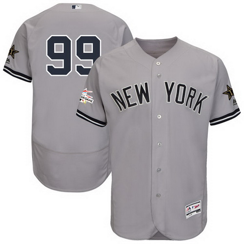 Men's New York Yankees #99 Aaron Judge Majestic Gray 2017 MLB All-Star Game Worn Stitched MLB Flex Base Jersey