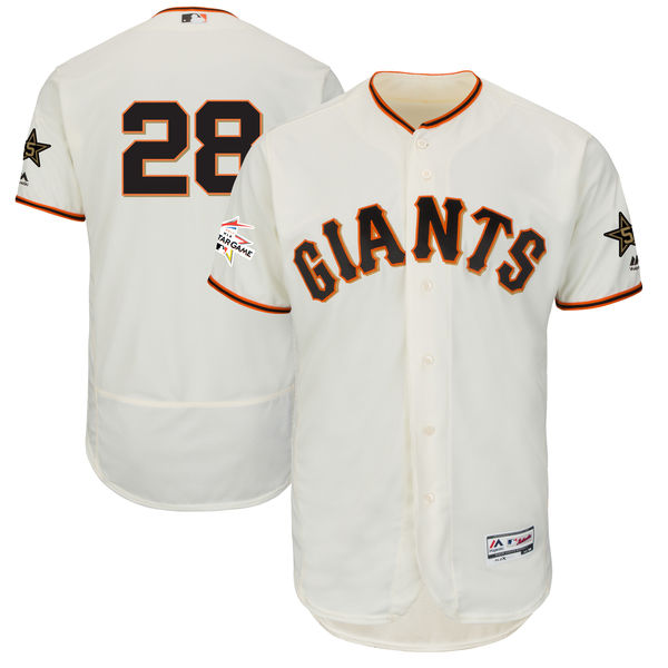 Men's San Francisco Giants #28 Buster Posey Majestic Cream 2017 MLB All-Star Game Worn Stitched MLB Flex Base Jersey