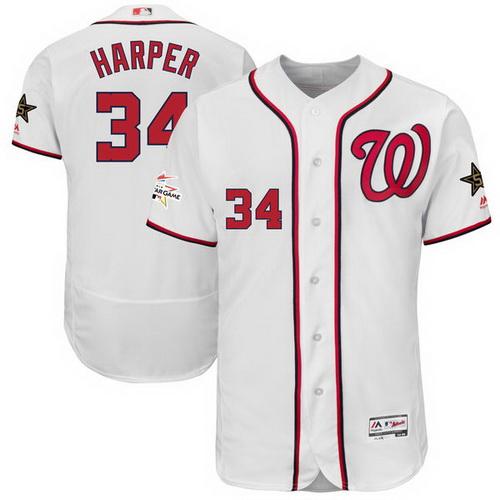 Men's Washington Nationals #34 Bryce Harper Majestic White 2017 MLB All-Star Game Worn Stitched MLB Flex Base Jersey