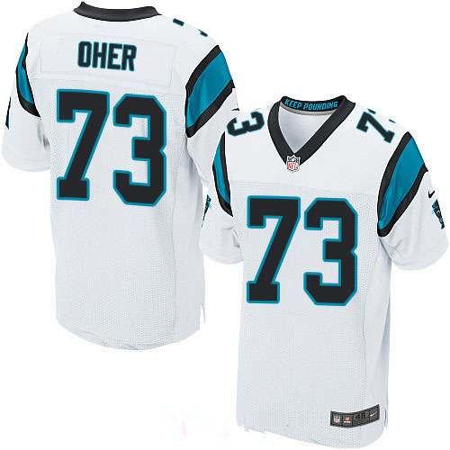 Men's Carolina Panthers #73 Michael Oher White Road Stitched NFL Nike Elite Jersey