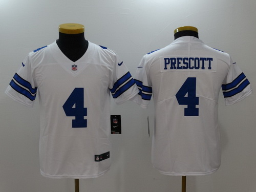 Youth Dallas Cowboys #4 Dak Prescott White 2017 Vapor Untouchable Stitched NFL Nike Limited Jersey
