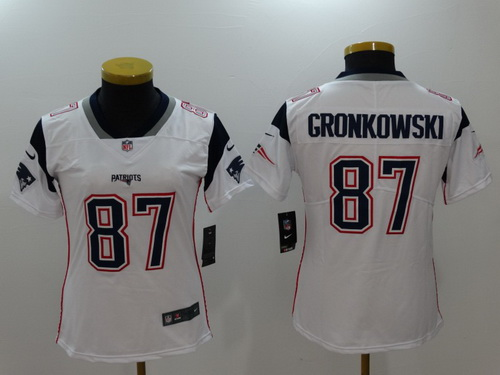 Women's New England Patriots #87 Rob Gronkowski White 2017 Vapor Untouchable Stitched NFL Nike Limited Jersey