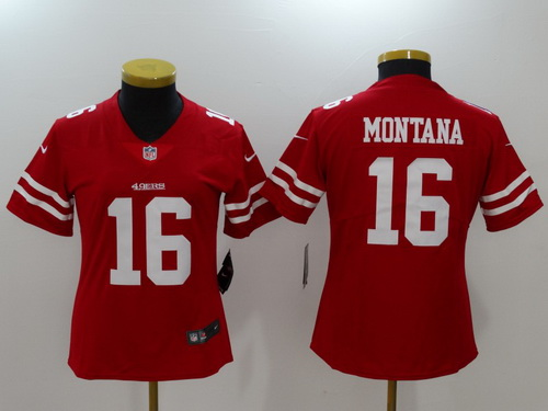 ad4caba26a1 ... 49ers 16 Joe Montana Red 2017 Vapor Untouchable Stitched NFL Nike  Limited Nike NFL San Francisco 49ers Colin Kaepernick 7 Game Womens Jersey  Black ...