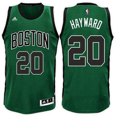 Boston Celtics #20 Gordon Hayward Road Green Black New Swingman Jersey