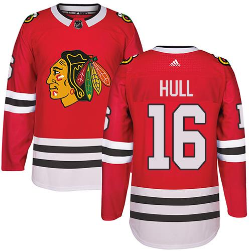Adidas Chicago Blackhawks #16 Bobby Hull Red Home Authentic Stitched NHL Jersey