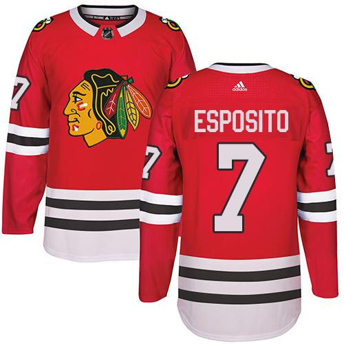 Adidas Chicago Blackhawks #7 Tony Esposito Red Home Authentic Stitched NHL Jersey
