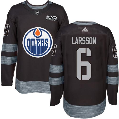 Adidas Edmonton Oilers #6 Adam Larsson Black 1917-2017 100th Anniversary Stitched NHL Jersey