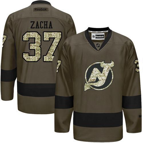 Adidas New Jersey Devils #37 Pavel Zacha Green Salute to Service Stitched NHL Jersey