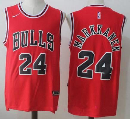 500ffb51591 Men s Chicago Bulls  24 Lauri Markkanen Red 2017-2018 Nike Swingman Stitched  NBA Jersey