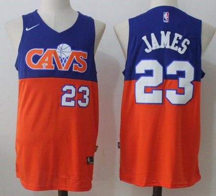 Men's Cleveland Cavaliers #23 LeBron James Royal Blue with Orange Fadeaway 2017-2018 Nike Swingman Stitched NBA Jersey
