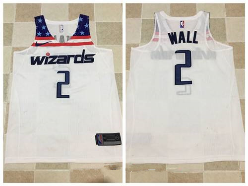 Men's Washington Wizards #2 John Wall White 2017-2018 Nike ...