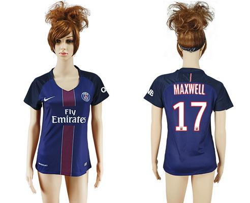 2016-17 Paris Saint-Germain #17 MAXWELL Home Soccer Women's Navy Blue AAA+ Shirt