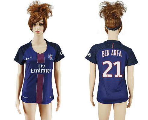 2016-17 Paris Saint-Germain #21 BEN ARFA Home Soccer Women's Navy Blue AAA+ Shirt