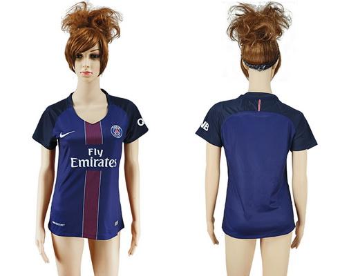 2016-17 Paris Saint-Germain Blank or Custom Home Soccer Women's Navy Blue AAA+ Shirt