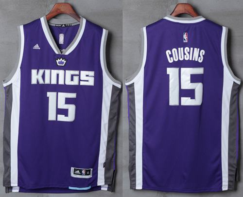 Men's Sacramento Kings #15 DeMarcus Cousins NEW Purple Stitched NBA 2016-17 adidas Revolution 30 Swingman Jersey