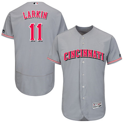 Men's Cincinnati Reds #11 Barry Larkin Grey Flexbase Authentic Collection Stitched MLB Jersey