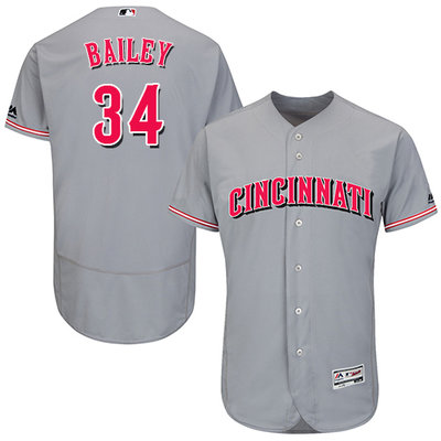 Men's Cincinnati Reds #34 Homer Bailey Grey Flexbase Authentic Collection Stitched MLB Jersey