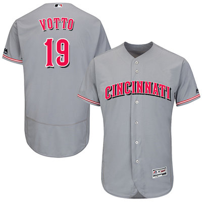 Men's Cincinnati Reds #19 Joey Votto Grey Flexbase Authentic Collection Stitched MLB Jersey